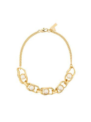 Gold Liquid Chain Pearl Necklace