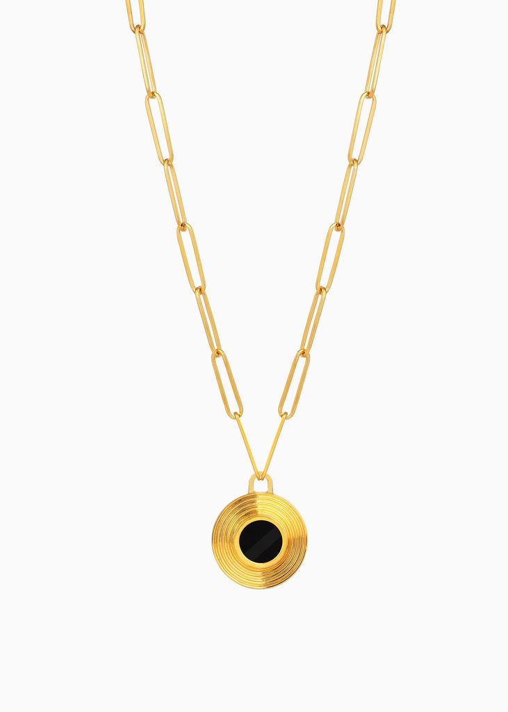 Onyx Gold Link Chain Necklace