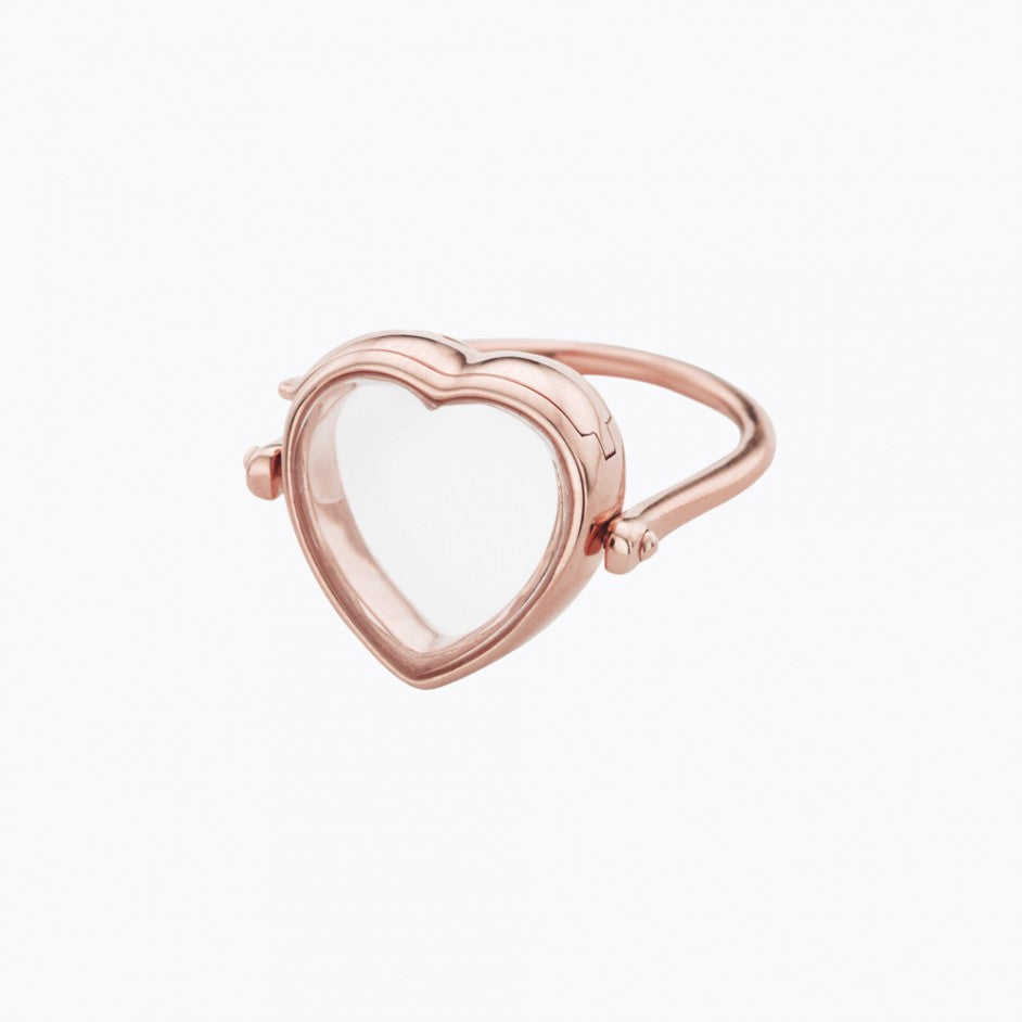 Medium Heart Rose Gold Locket Ring