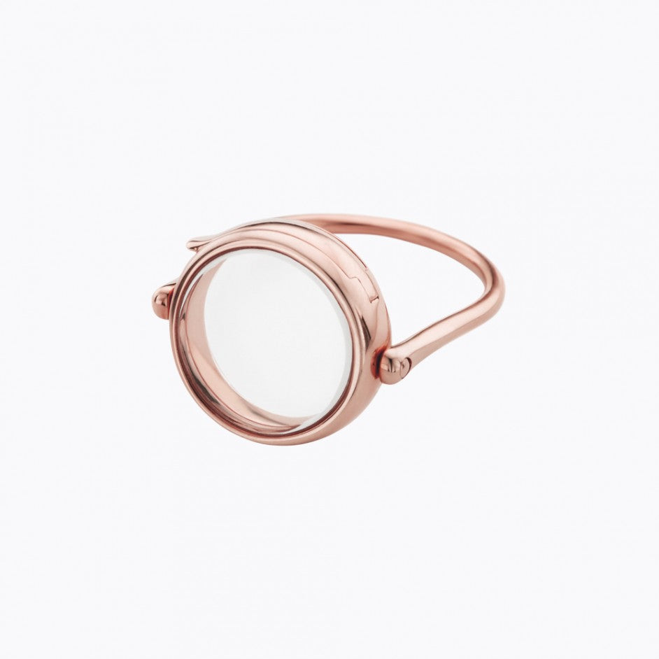 Medium Round Rose Gold Locket Ring