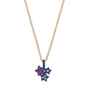 Midnight Colourful Star Cluster Necklace