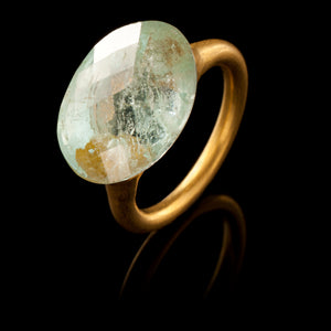 Etruscan Gold and Aquamarine Ring