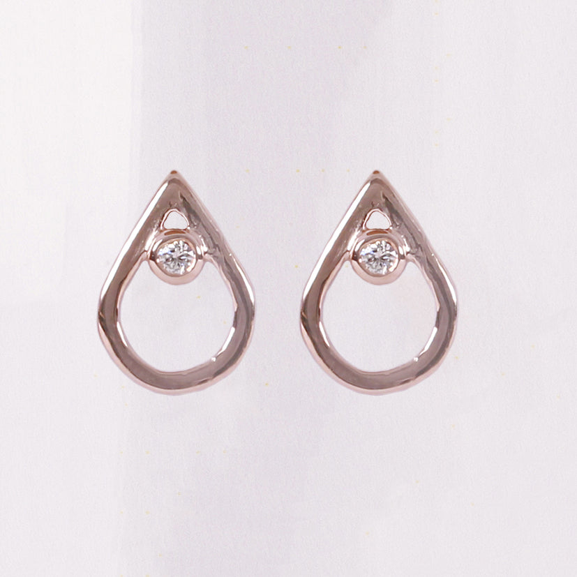 Rose Gold Diamond Mini Point Studs