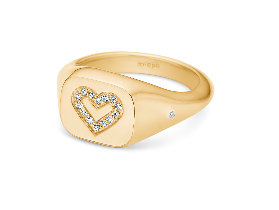 Rock Heart Signet Ring