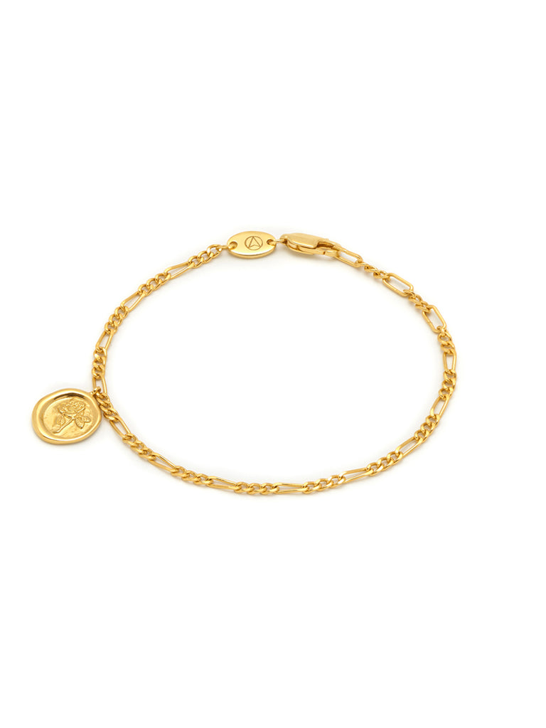 Rose Seal Charm Chain Bracelet
