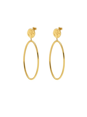 Rose Seal Statement Hoop Earrings
