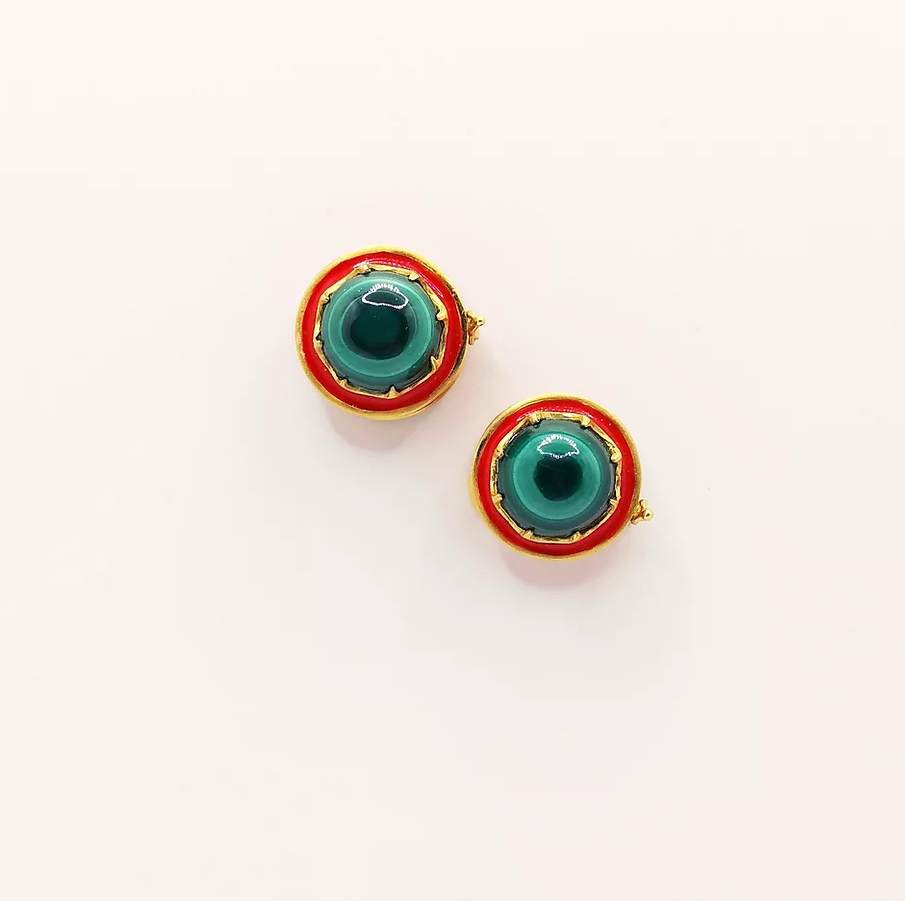 Red enamel and Malachite buttons