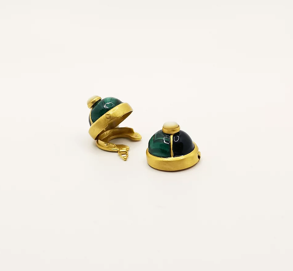Black enamel and Malachite buttons