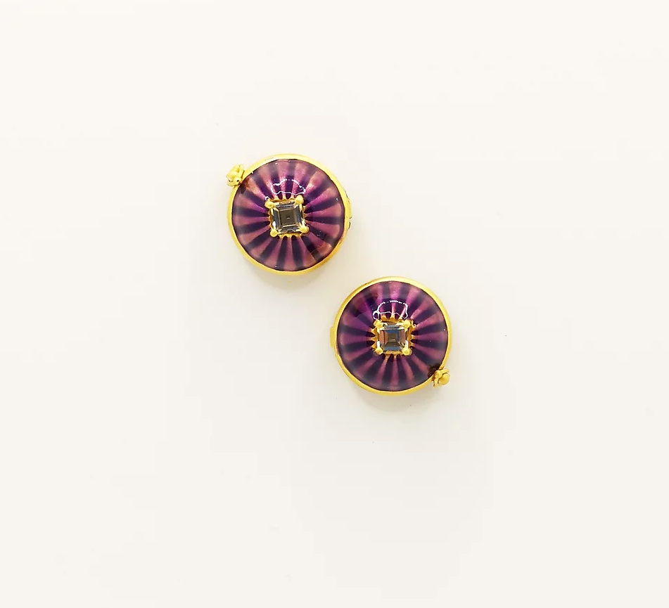 Purple enamel and Citrine buttons