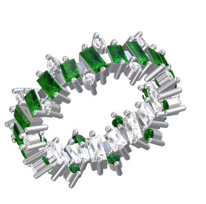 Ring Jagged White Sapphires And Emerald