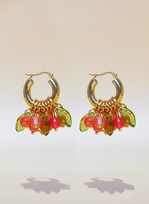 Lingonberry Beret Earrings