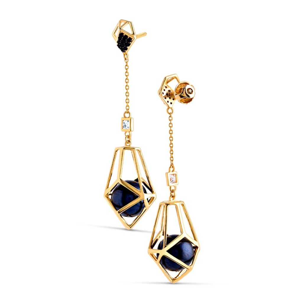 Architectural Drop Earrings With Black South-Sea Pearl