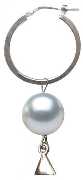 Silver Pearl Hoop Earring (Single)