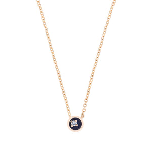 Small Floating Star Diamond Midnight Enamel Necklace