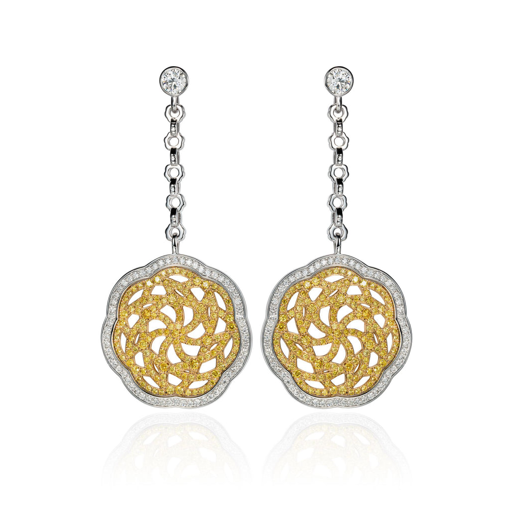White & Gold Earrings