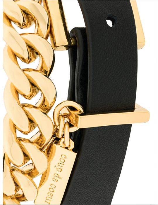 Gold Plated Black Leather Chain Bracelet