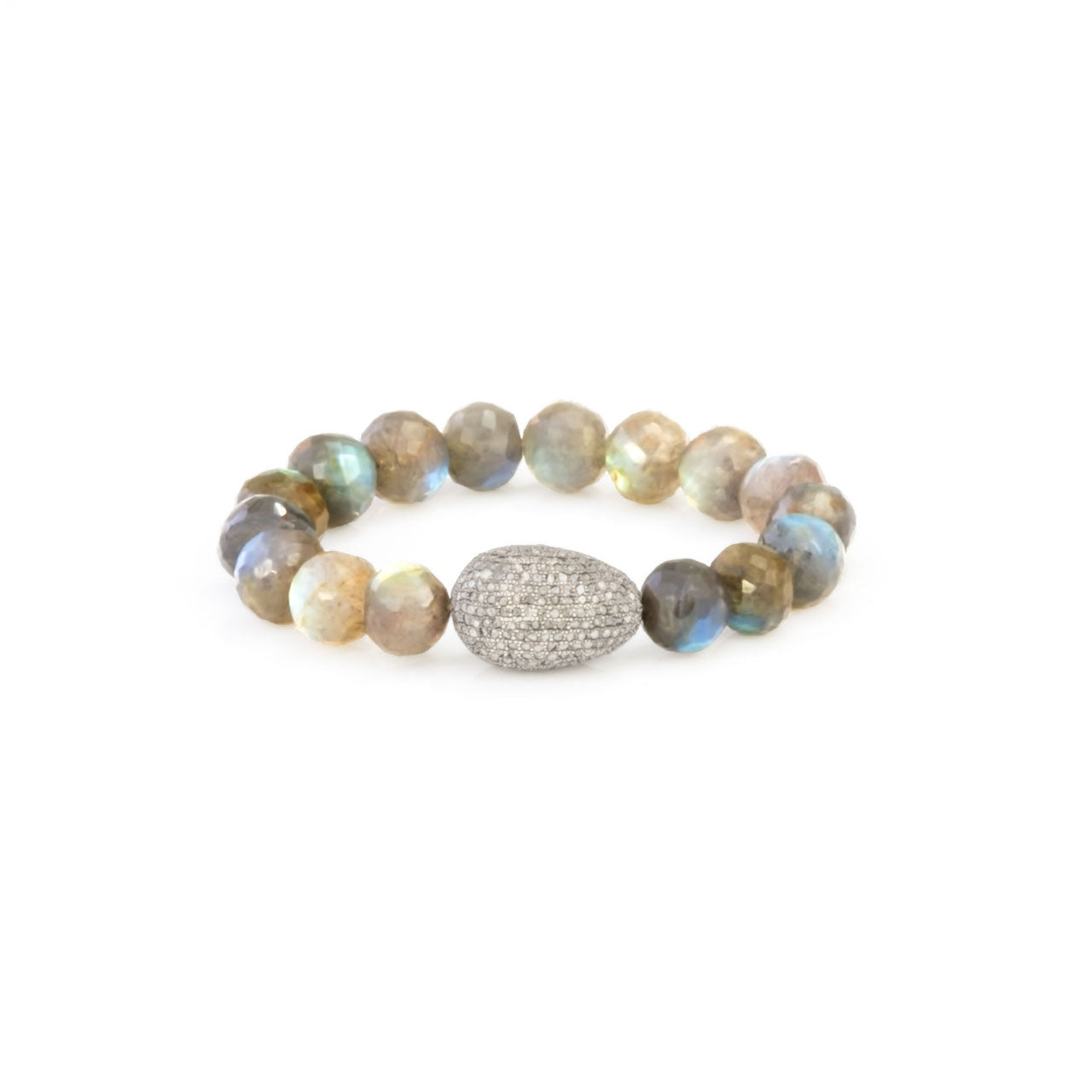 """Diamondegg"" Beaded Labradorite stretch bracelet"