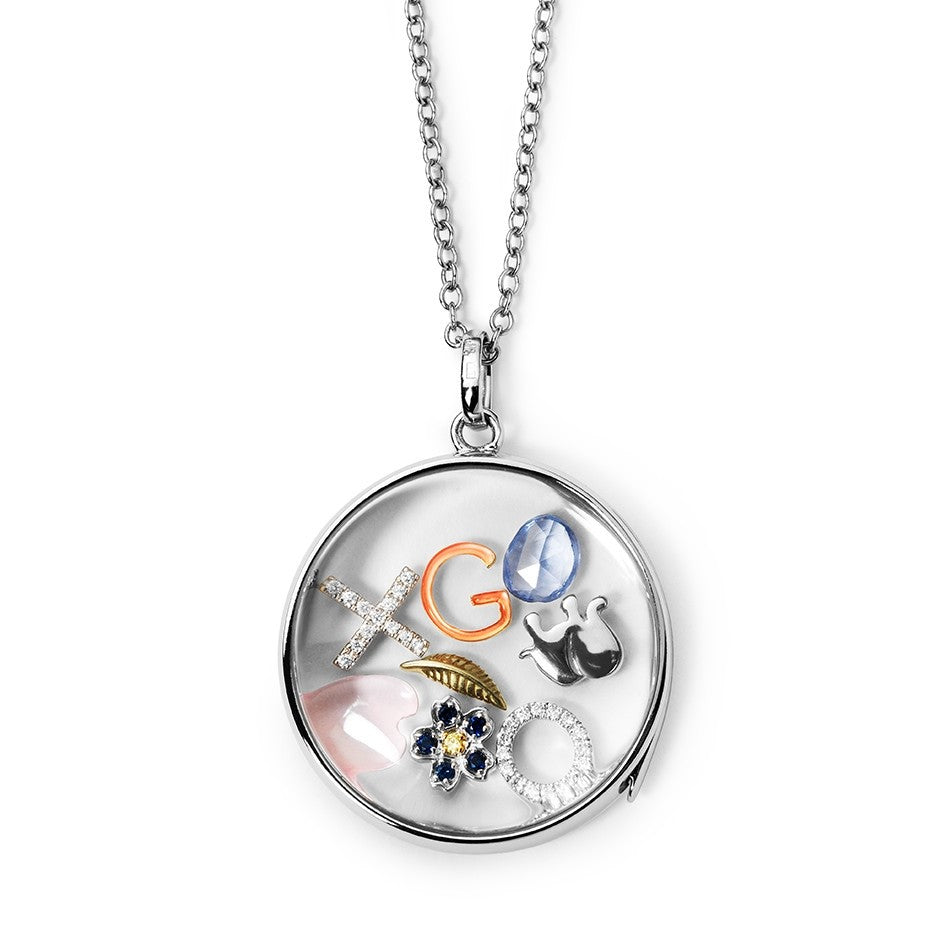 Large Round White Gold Locket