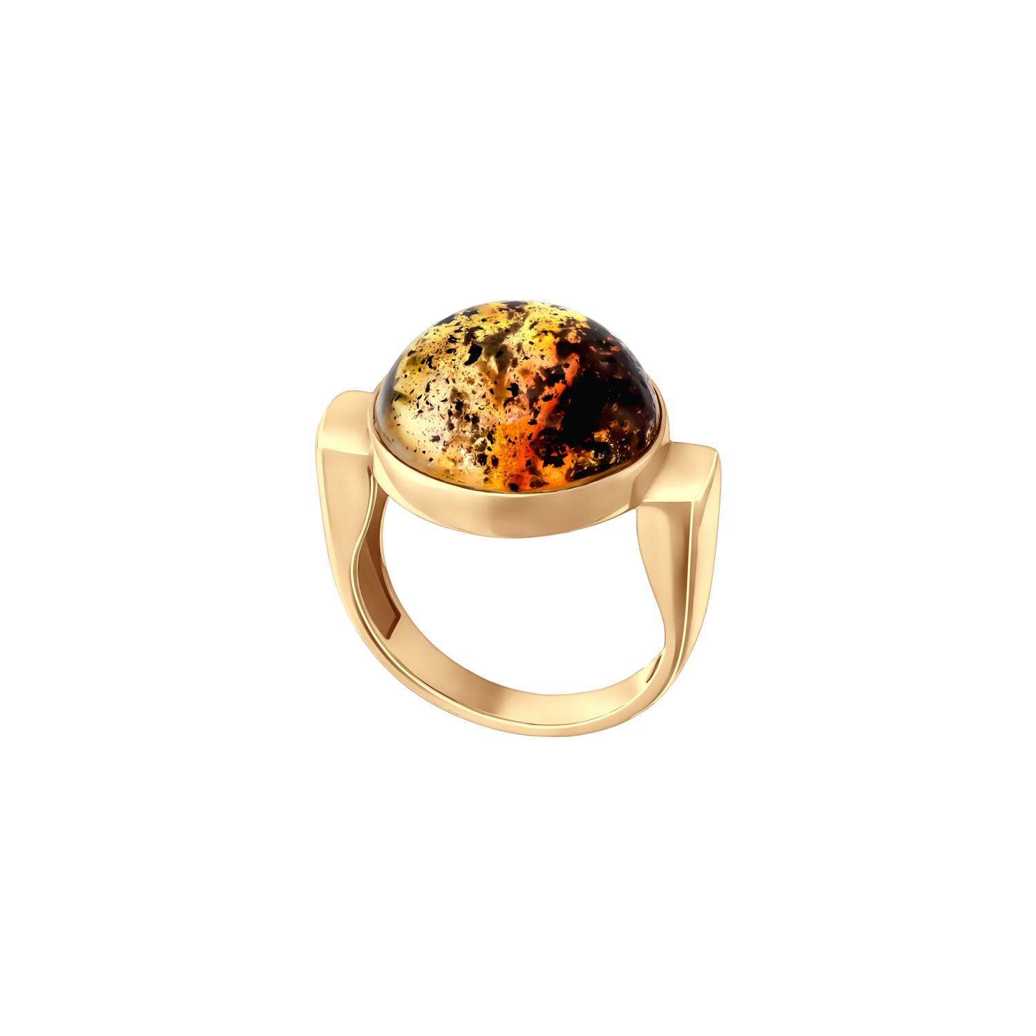 Modernism Gold Plated Silver Ring with Inclusions Inside Amber
