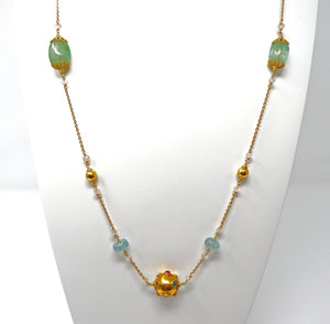 Green Beryl, Aquamarine and Gold Bead Necklace