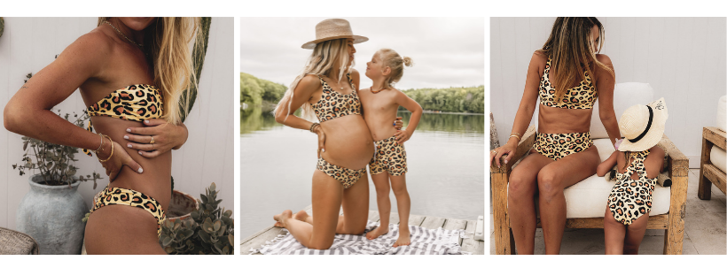 Leopard print with a yellow undertone by Infamous Swim called sun leopard