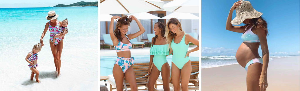 Womens and family matching swimwear in fun and vibrant prints