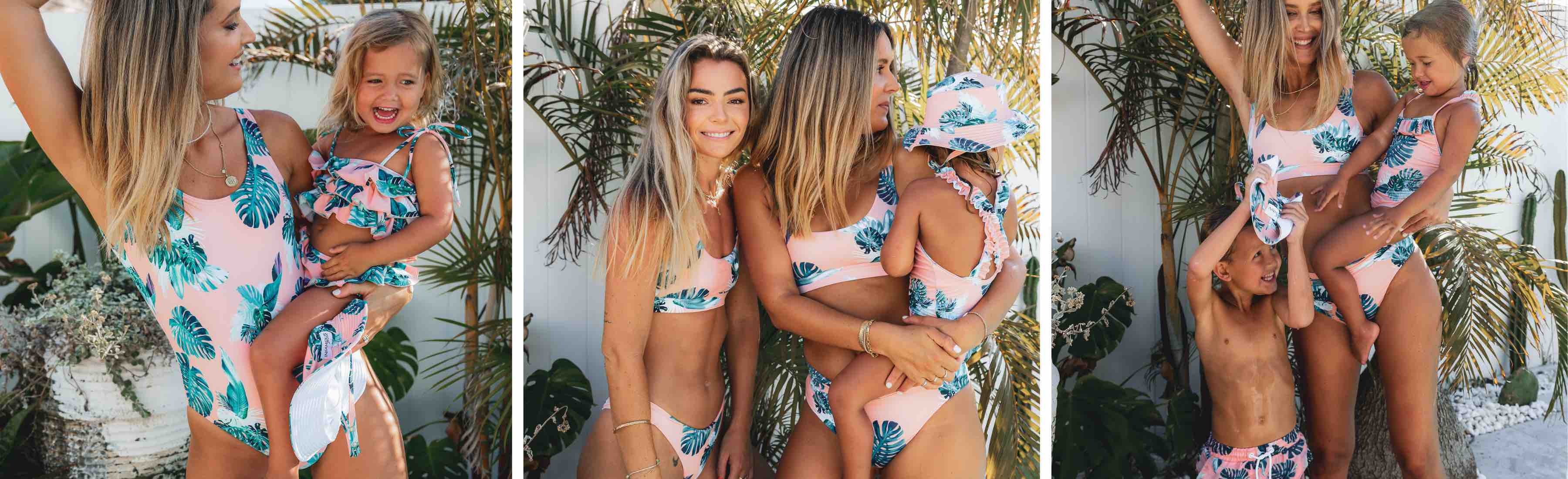 Peach sunset print swimwear, a lovely soft peach coloured background with tropical leaf print