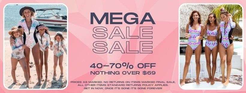 Infamous Swim mega sale is on now. 50-70% off, nothing over $69