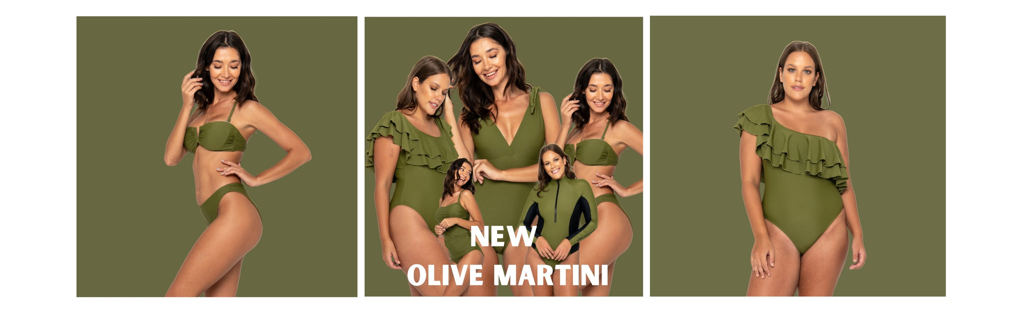 Girls wearing Olive Martini Print From Infamous Swim