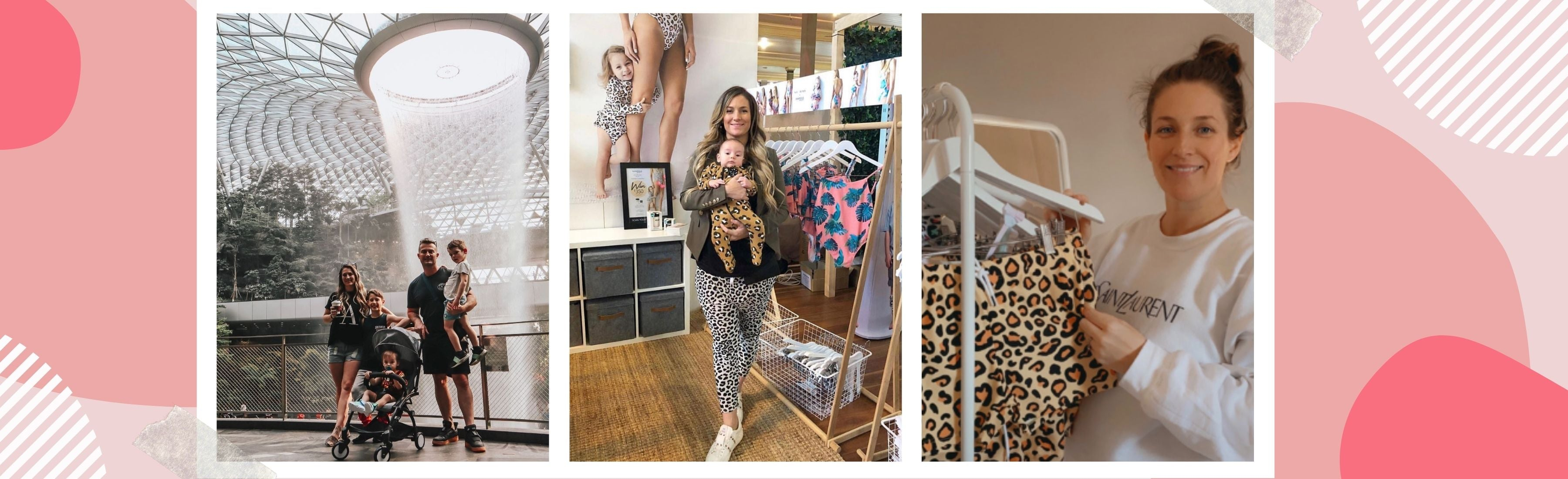 Infamous Swim founder Gem, spending time with her family, running her business while being a mum and showing off her favourite Infamous Swim Design the Miranda in Sun Leopard.
