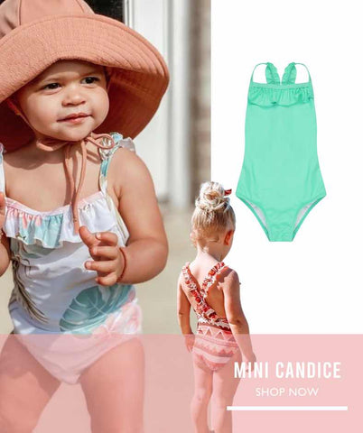 girls one piece swimsuit with gorgeous frill detail