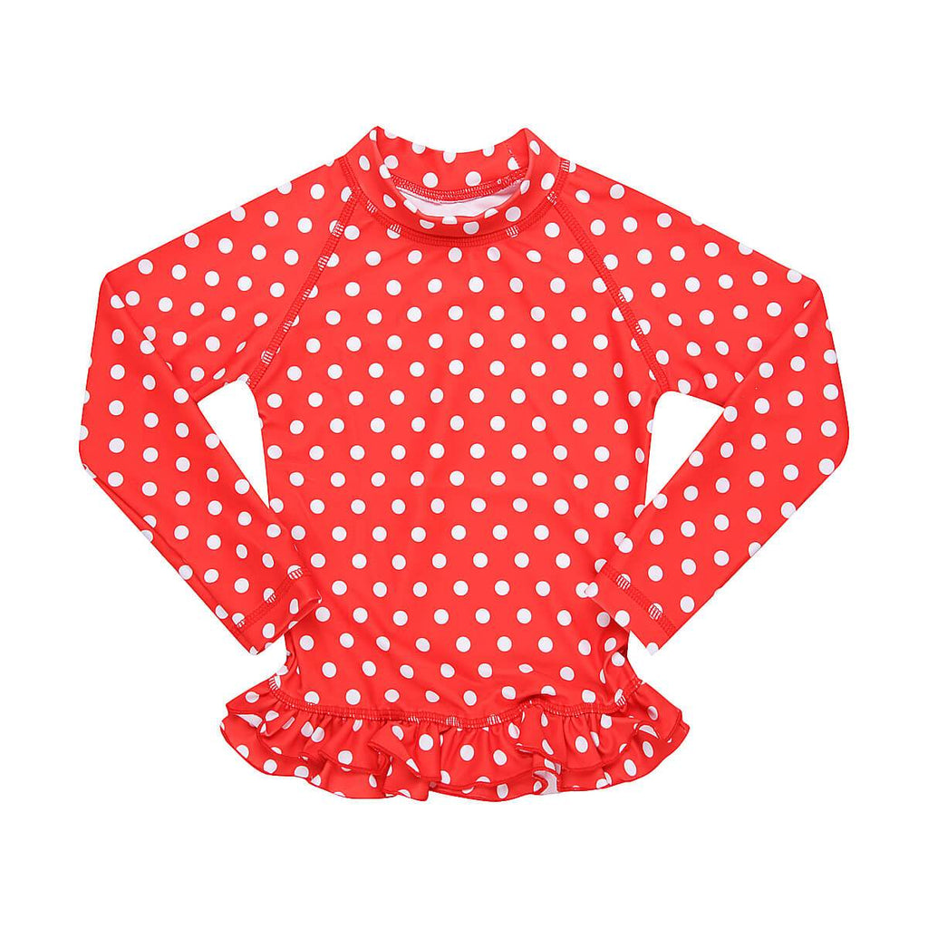 MINI ME ANNIE Rashie UPF50+ // Red Polka Dot