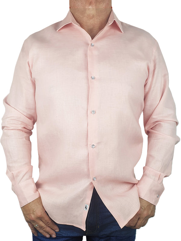 Byron Bay Pink Long Sleeve Big Mens Shirt