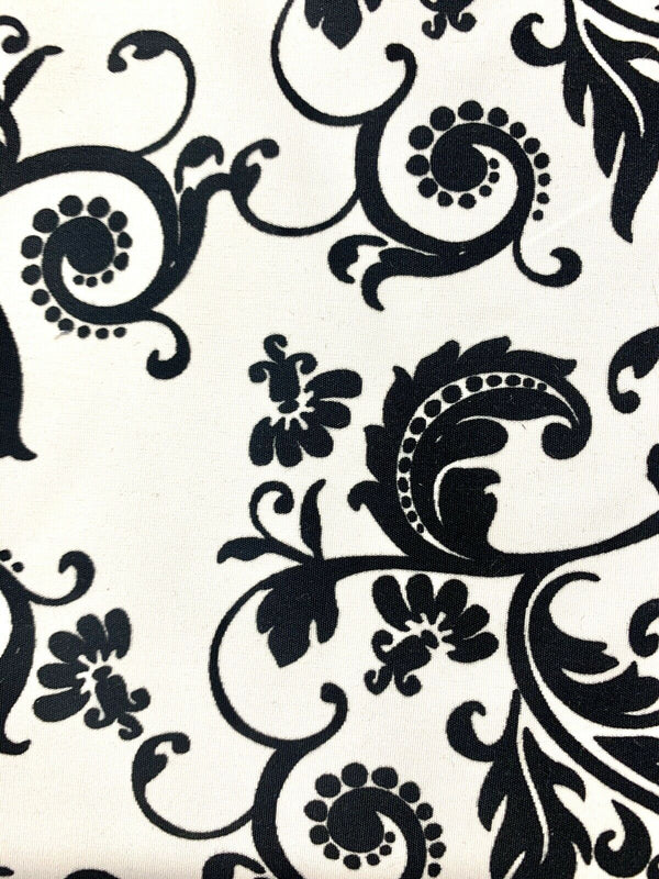 """Swirl"" Black & White Flourish Polyester Fabric"
