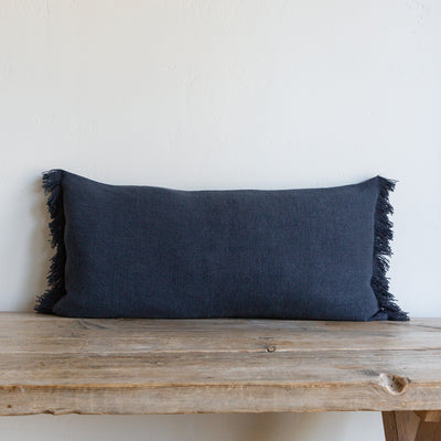 "DENIM BLUE BELGIAN LINEN FRINGE 16""x32"" - Sugar Feather"