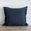 "DENIM BLUE BELGIAN LINEN FRINGE 22""x22"" - Sugar Feather"