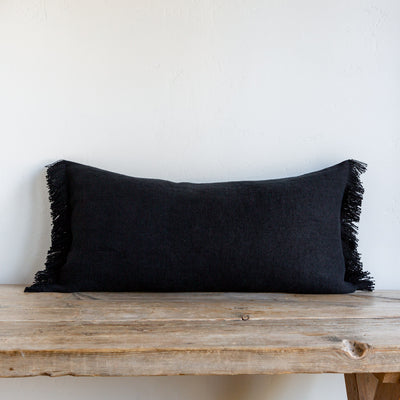 "CHARCOAL BELGIAN LINEN FRINGE 16""x32"" - Sugar Feather"