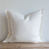 "WHITE BELGIAN LINEN FRINGE 22""x22"" - Sugar Feather"