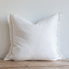 WHITE BELGIAN LINEN FRINGE (Euro) - Sugar Feather