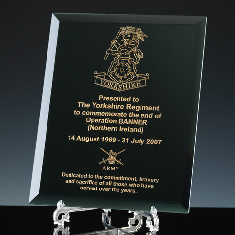 Engraved Army Black Mirror Glass Plaque
