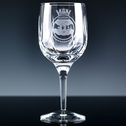 Engraved Army Cut Wine Glass