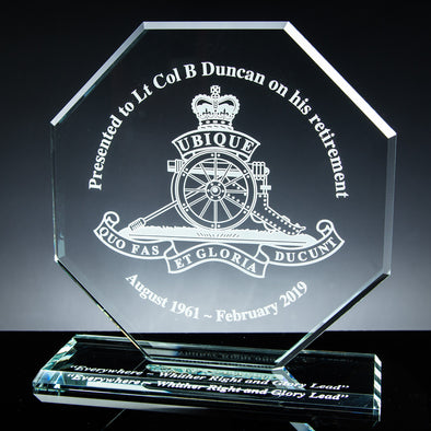 "Glass Tablet Engraved Award 8"" Octagon, Satin Lined Box"