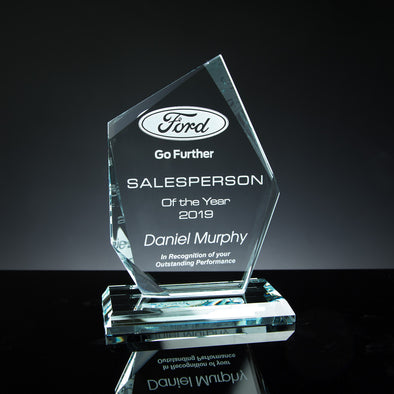 "Glass Tablet Engraved Award 7"" Angled, Satin Lined Box"