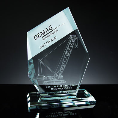 "Glass Tablet Engraved Award 9"" Angled, Satin Lined Box"