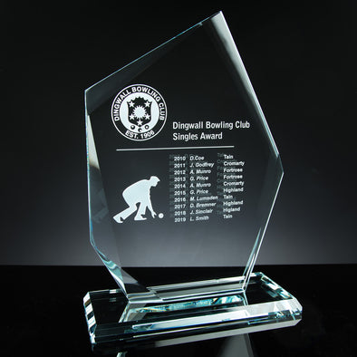 "Glass Tablet Engraved Award 11"" Angled, Satin Lined Box"