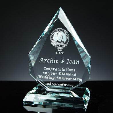 "Glass Tablet Engraved Award 7"" Royal Diamond, Satin Lined Box"