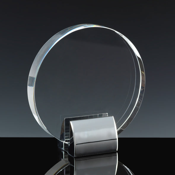 "Fusion Crystal 5.5"" Circle With Chrome Base Award"