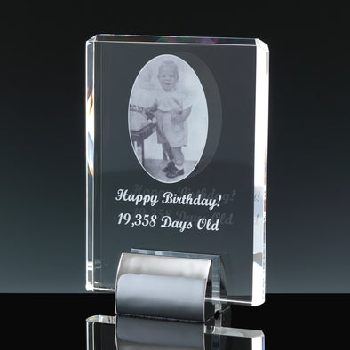 "Fusion Crystal 7"" Plaque & Chrome Base"