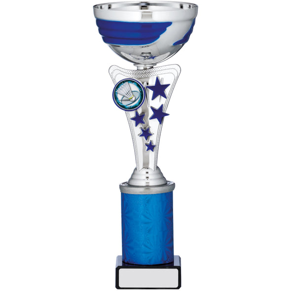 Silver And Blue Cup Trophy 25cm