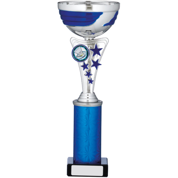 Silver And Blue Cup Trophy 28cm